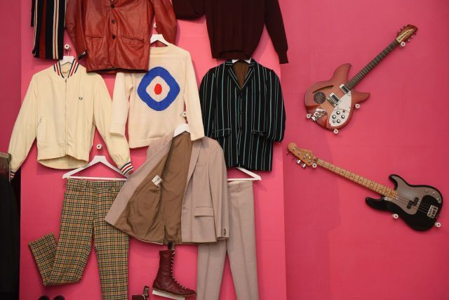 The Jam were also style icons so clothes feature prominently in this exhibition. Photo Mary Turner (Getty images for Somerset House)