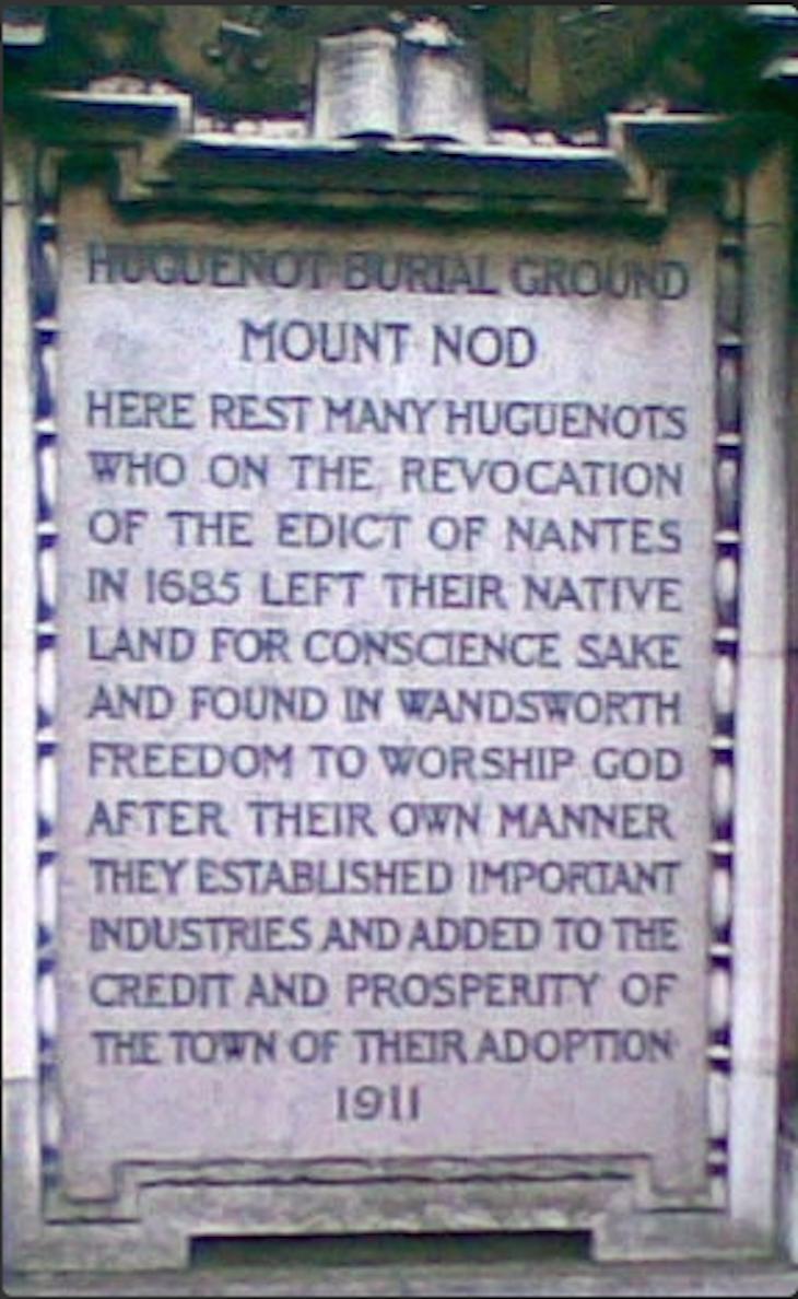 Huguenot Burial Ground (aka Mount Nod) in Wandsworth. Photo: The Huguenots of Spitalfields website