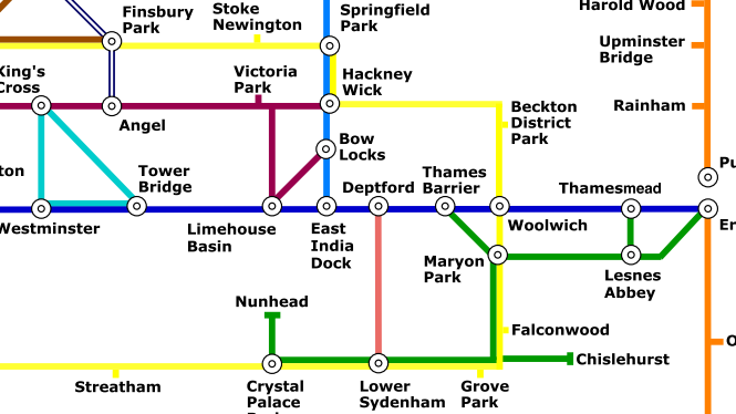 London walking routes, presented on a tube-style map.