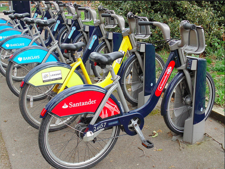 All the Boris Bike colours in a row in Regent's Park. Photo: Karen (2015)