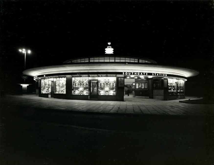 The city at night: Southgate Underground Station, 1933