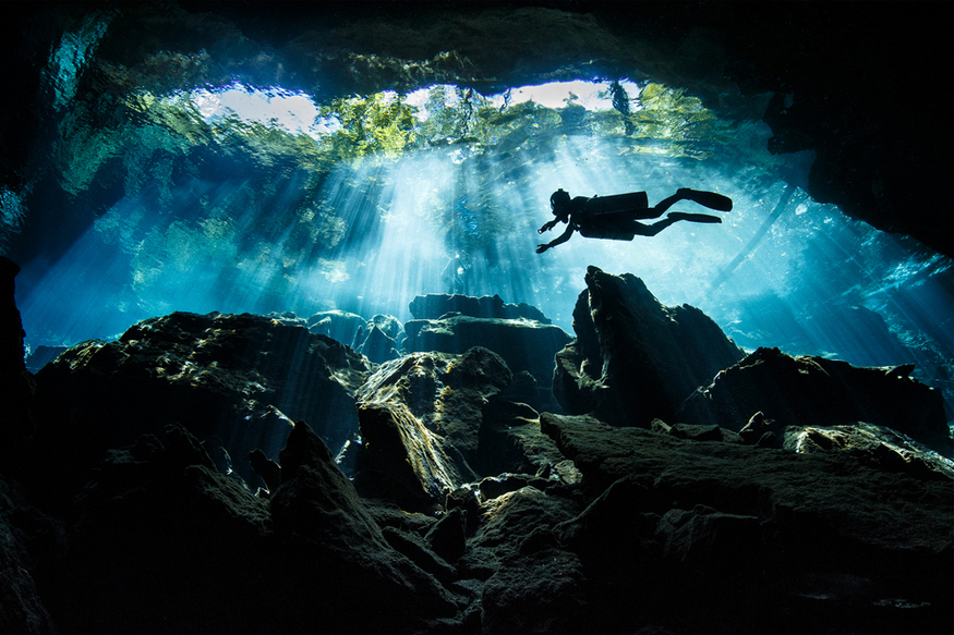 The Kukulkan Cenote cave in Mexico is a favourite of divers for obvious reasons. Copyright Terry Steeley / www.tpoty.com