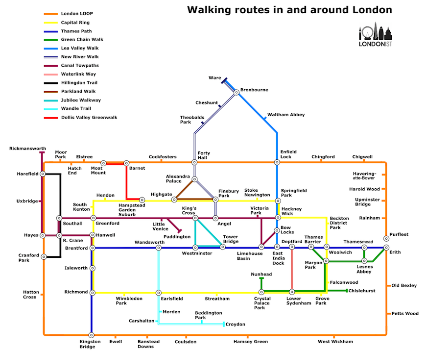 The London Walkers Tube Map Londonist - London map pdf 2015