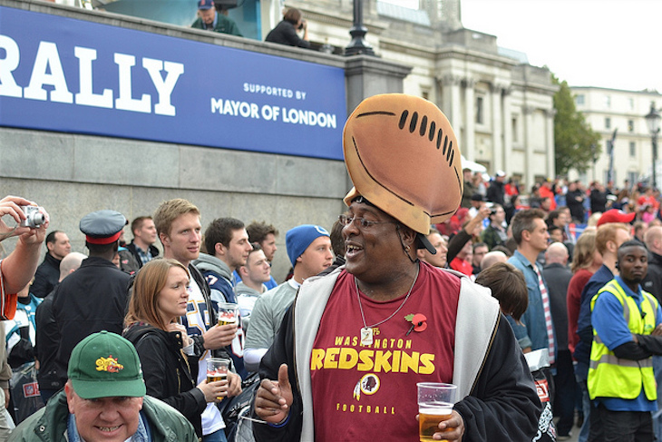 Watch it Football Head! A fan of the American sport at the fan rally in Trafalgar Square. Photo: psyxjaw (2013)