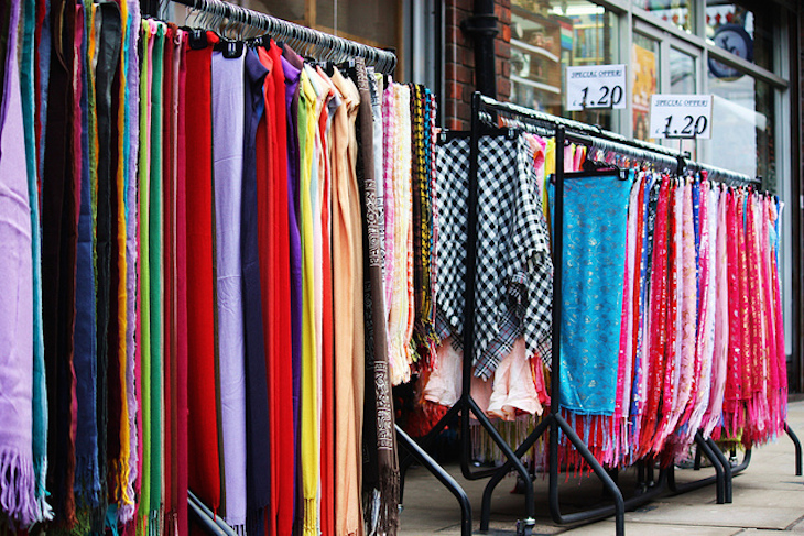 Colourful scarves of the East End. Photo: Stephanie Sadler (2011)