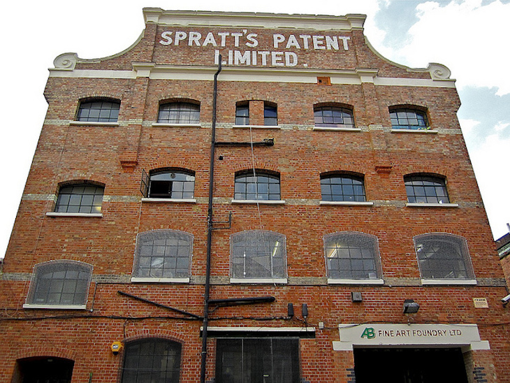 Former factory site in Bromley-by-Bow of dog-food pioneer James Spratt, built in 1899 . Photo: Andy Worthington (2012)
