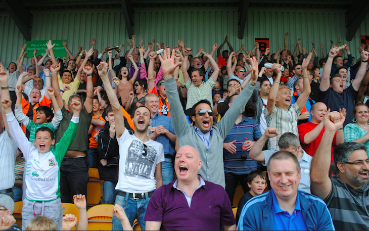 Arms in the air can only mean one thing. Barnet save themselves from relegation at Underhill Stadium. Photo: Sowiesoso (2011)