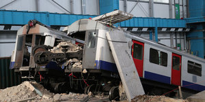 Tube Trains Crushed For Emergency Services Disaster Training Exercise