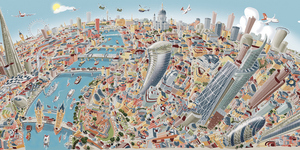 A Cartoon-y London Panorama Drawn By Hartwig Braun