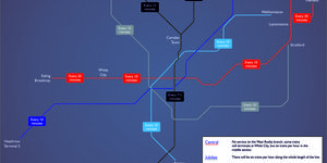 A Map Of Night Tube Train Frequencies