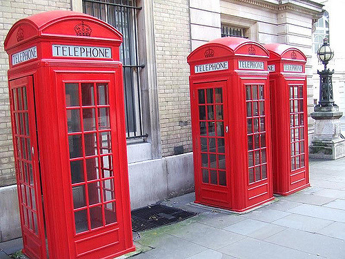 Red phone boxes.