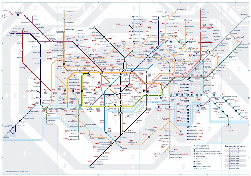 The Tube Map With Added Postcodes