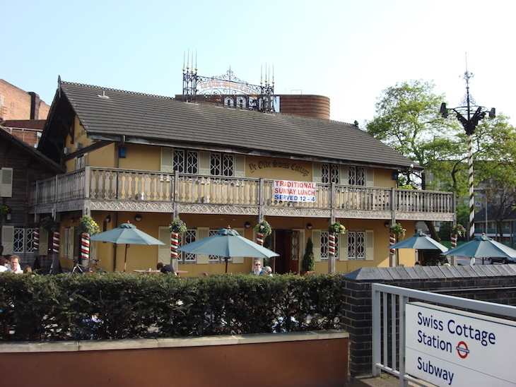 The Swiss Cottage pub.