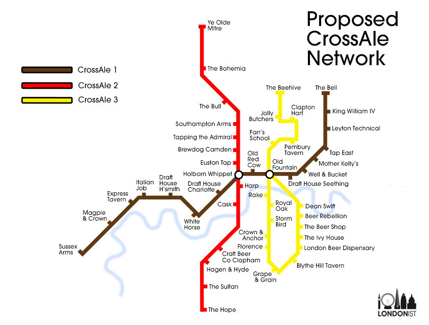 A Tube Map For Craft Beer Pubs