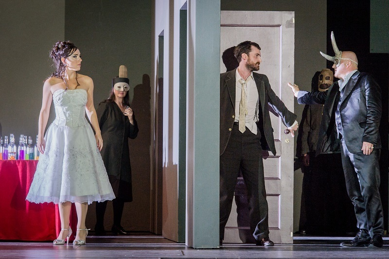 Mary Bevan, Nicholas Crawley and Christopher Purves in the ENO's Don Giovanni.