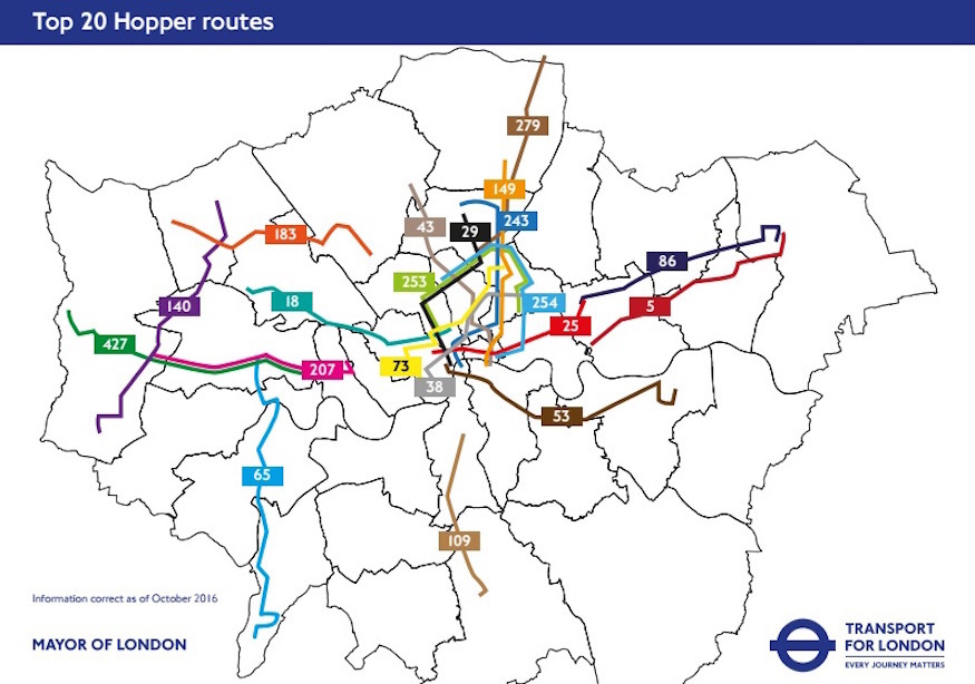 London's Most Popular Hopper Bus Routes Revealed