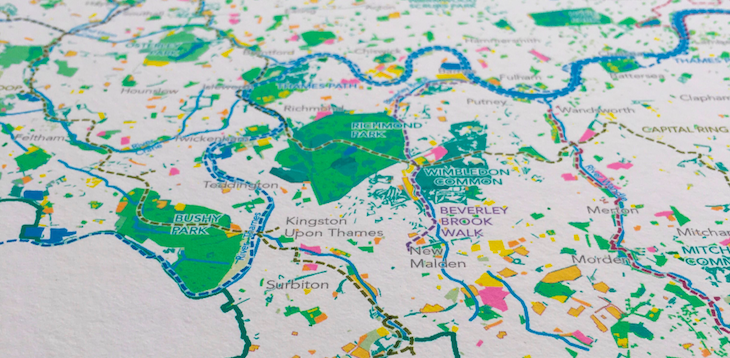 the map was put together by charlie peel for the greater london national park city initiative a plan to give the capital the status of a national park