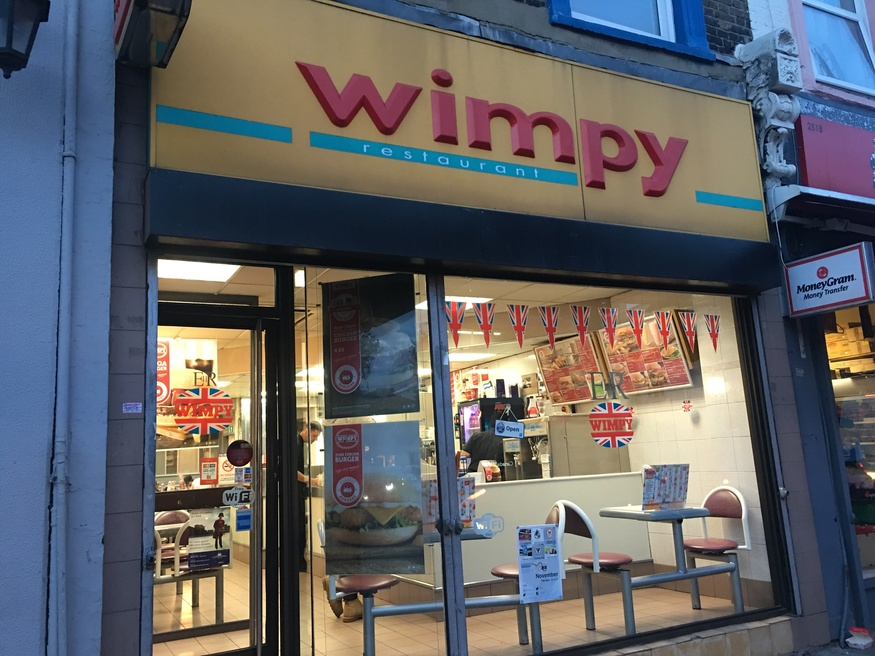 A view of the outside of Wimpys Southwark Road