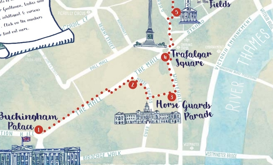 Take a gas lamp-lit stroll through central London with this map