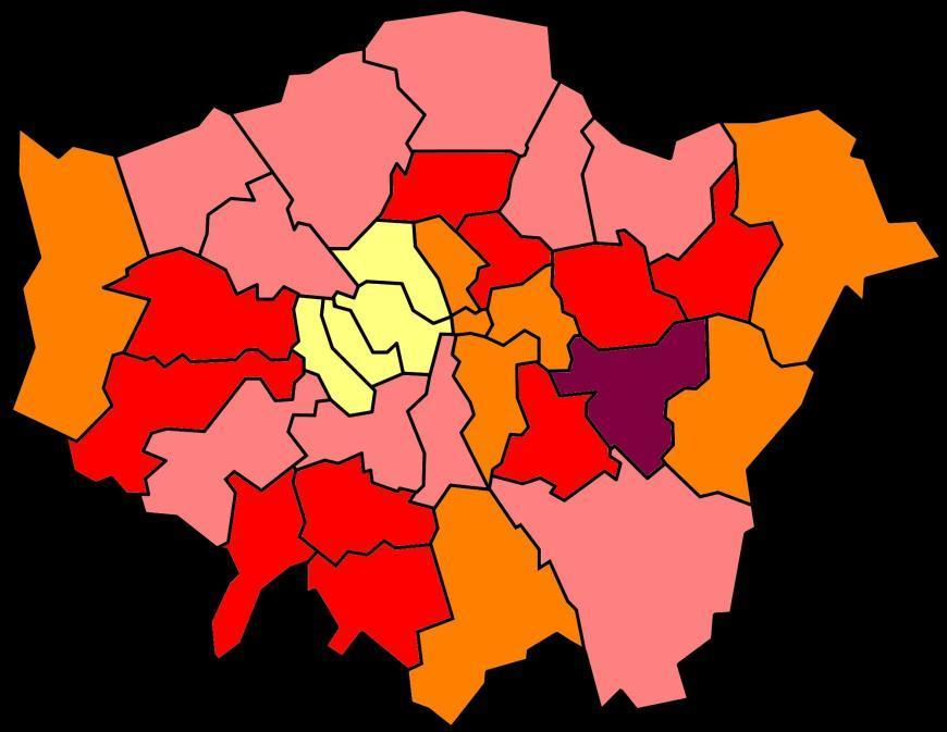 In which boroughs have rents risen most in London?