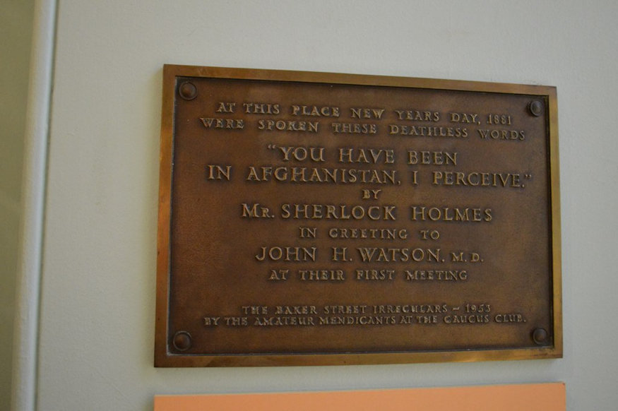 There's a plaque marking the Sherlock-Watson first meeting.
