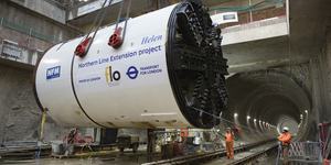 Giant Tunnel Boring Machines Lowered For Northern Line Extension