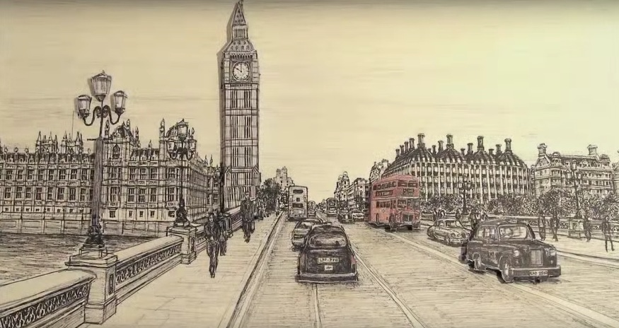 Video: A Man Draws The Houses Of Parliament... Quickly