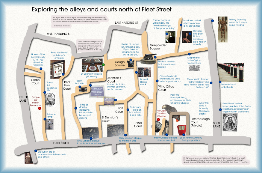 Use this to explore the alleys north of Fleet Street