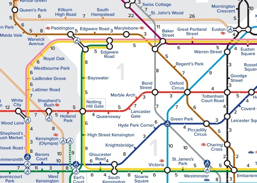 This Tube Map Shows Scooting Times Between Stations