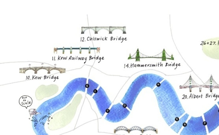 London Bridge Map.An Illustrated Map Of Bridges On The Thames Londonist