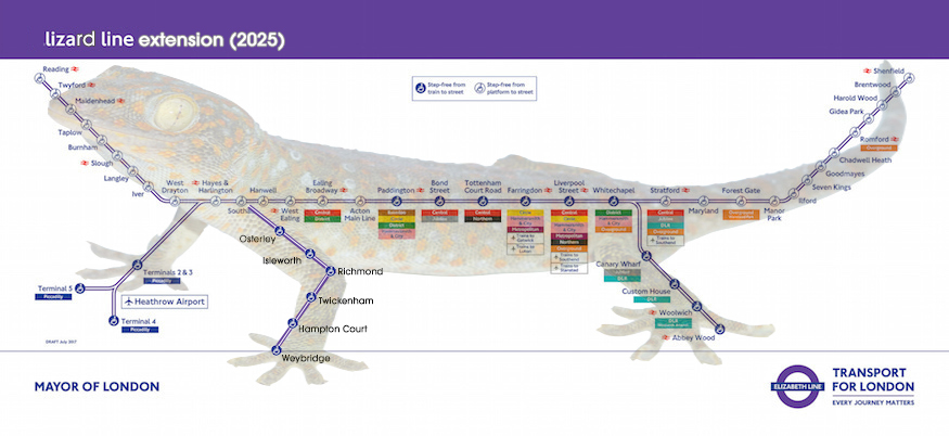 Crossrail map looks just like a lizard. Look ->