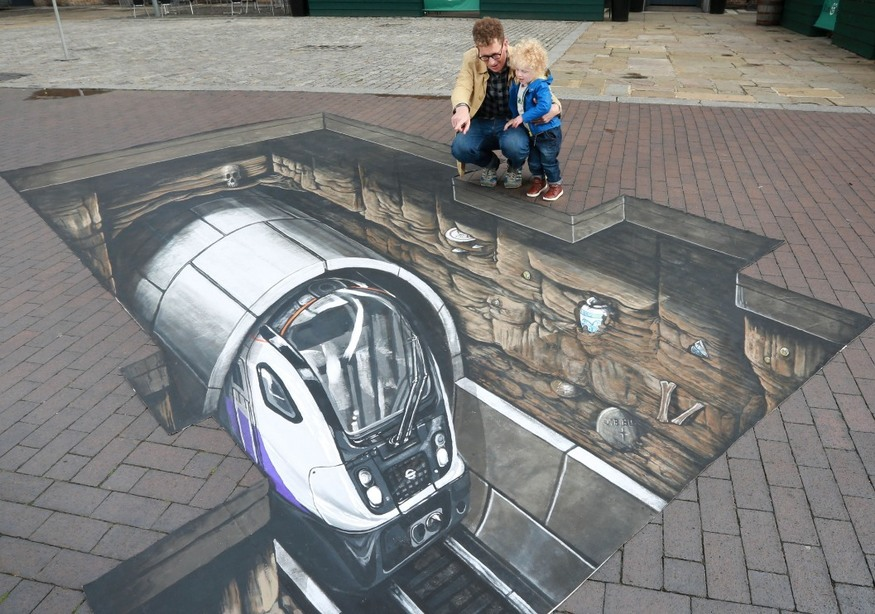 'Crossrail Train' Appears Beneath Street Outside Major London Museum