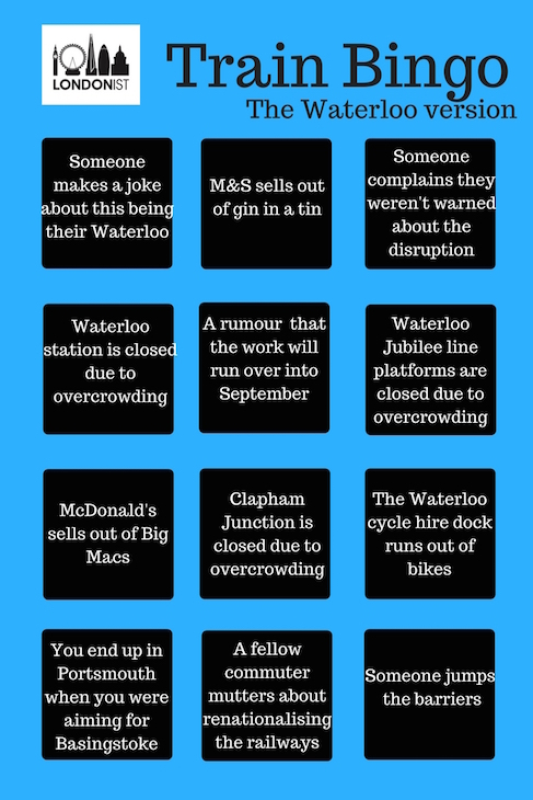 Can You Get A Full House On Londonist Train Bingo: The Waterloo Version?