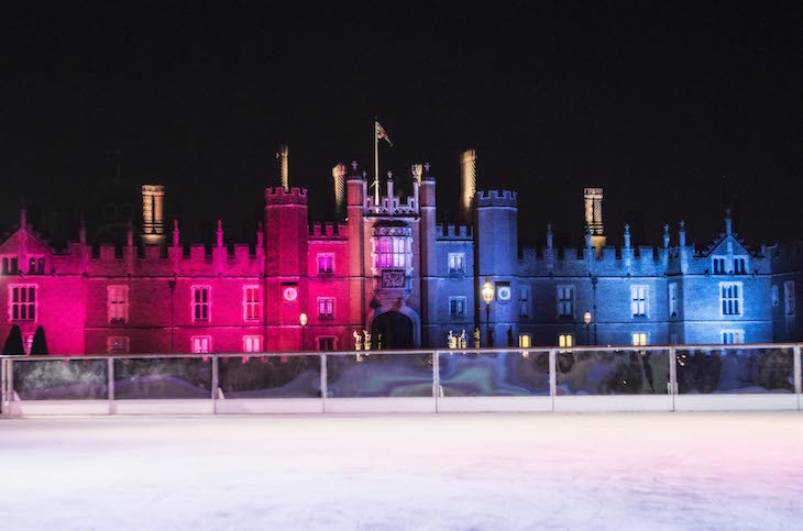 The Christmas ice skating rink at Hampton Court Palace. London: Where to go ice skating in London at Christmas