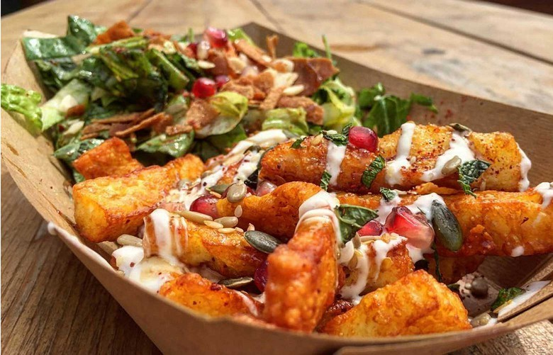 Hallomi fries at Oli Baba's at Kerb Camden vegetarian street food in London