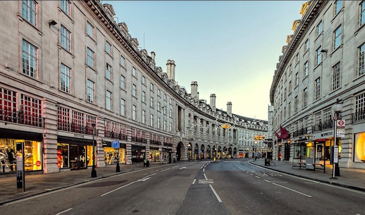 Christmas day in London on Regent Street