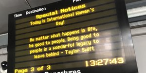Rihanna And Taylor Quotes Appear On Train Departure Boards