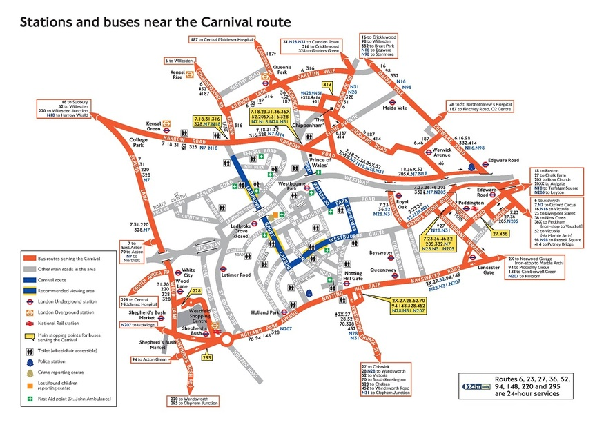 TfL map showing travel and public transport options for getting to Notting Hill Carnival in west London