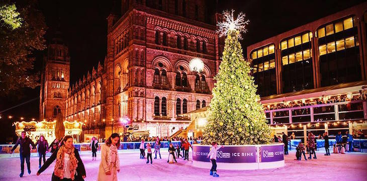 The Christmas ice skating rink at Natural History Museum, South Kensington, London: Where to go ice skating in London at Christmas