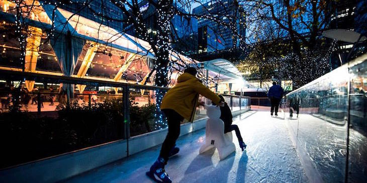 The Christmas ice skating rink at Canary Wharf, London: Where to go ice skating in London at Christmas