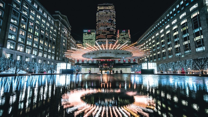 Canary Wharf Winter Lights free light festival in Canary Wharf, London