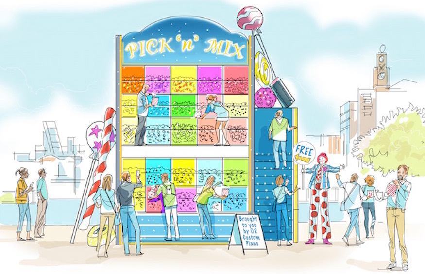 A pick and mix wall with free sweets in London
