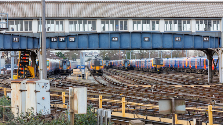 Trains in the sidings outside Clapham Junction railway station
