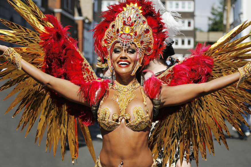 A costumed dancer at Notting Hill Carnival