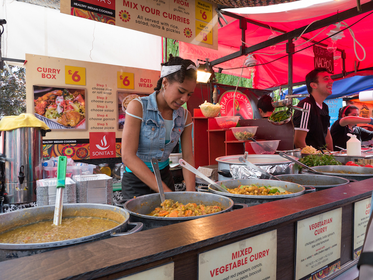 A food stall in the street at Notting Hill Carnival