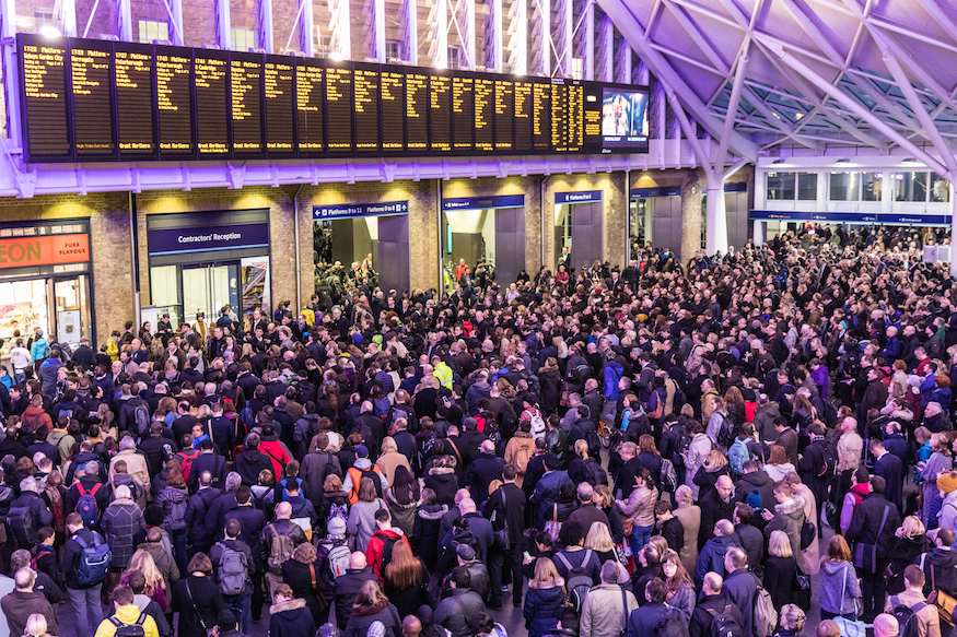 Train delays and cancellations at King's Cross station