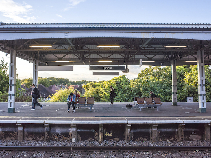 Platform at Epsom station