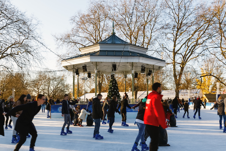 The Christmas ice skating rink at Winter Wonderland in Hyde Park, London: Where to go ice skating in London at Christmas