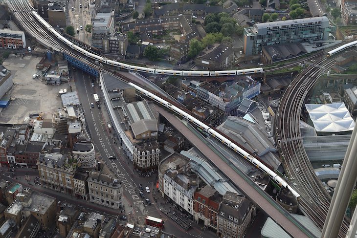 London Bridge railway station and tracks from above