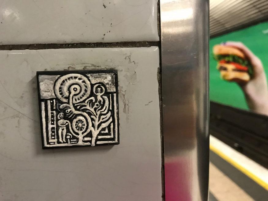 Art by Ben Wilson in Old Street tube